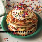Birthday Cake Pancakes in home kitchen